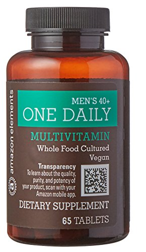 Amazon Elements Men's 40+ One Daily Multivitamin, 67% Whole Food Cultured, Vegan, 65 Tablets, 2 month supply (Element Multi)