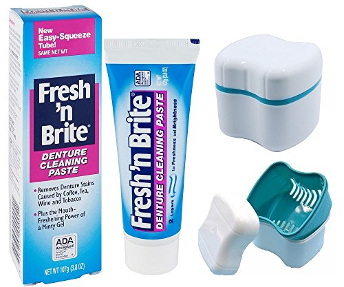Fresh'n Brite Denture Toothpaste And Denture Cleaning Cup Case With Lid Basket (Pro Gift Baskets)