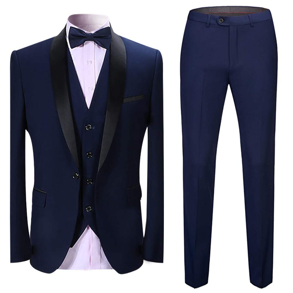 Boyland Men's 3 Pieces Suit Shawl Lapel Tuxedo Suits Shawl Lapel One Button Tux Jacket Vest Trousers Dinner Wedding Navy by Boyland