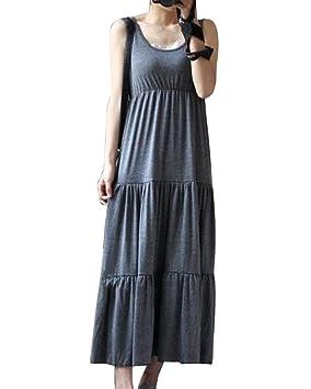 6b0cffcd9 Mujer Premamá Modal Casual Sin Mangas Cuello Redondo Maxi Vestidos De Playa  Coctel Fiesta Gris Oscuro