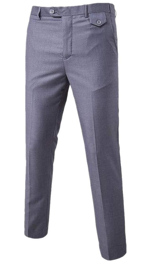 GenericMen Business Pure Color Cotton Slim Fit Plain Front Dress Pant