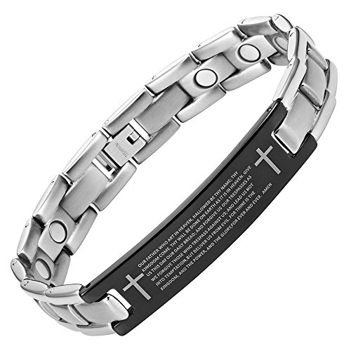 Willis Judd Men's English Lord Prayer Titanium Magnetic Bracelet In gift Box Adjustable -