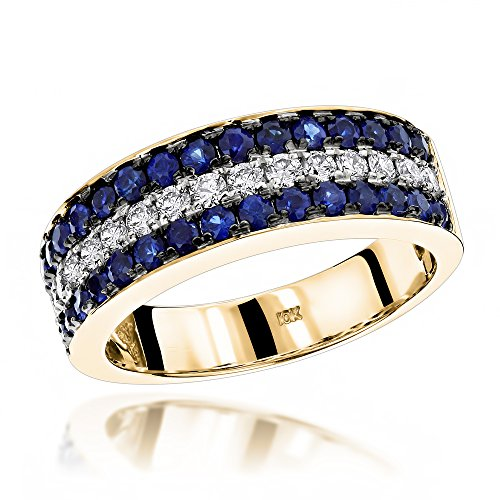 Luxurman Unique 3 Row Sapphire and Diamond Wedding Band 10K Ring (Yellow Gold Size 9.5)