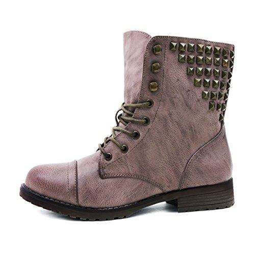 Marimo Damen Schnür Stiefel Stiefeletten Worker Boots in Lederoptik mit Nieten Khaki