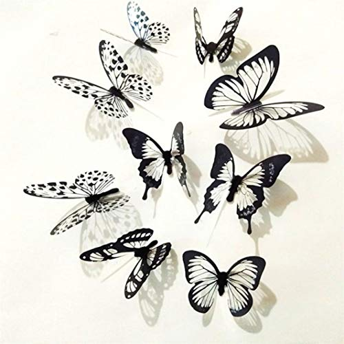 (36 Pcs 3D Black White Butterfly Sticker Art Wall Decal Mural Home Decoration)