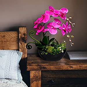 YILIYAJIA Artificial Orchid Bonsai Fake Flowers with Vase Arrangement 5 Head PU Phalaenopsis Bonsai for Home Table Décor 4