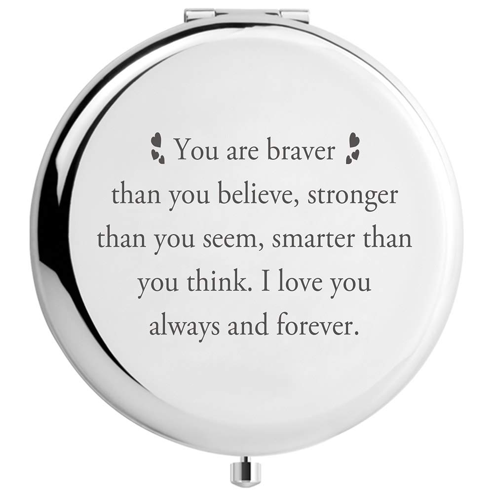 DIDADIC Graduation Gifts for Her High School or College Makeup Mirror, Inspirational Birthday Gifts for Women Sister Daughter (You are Braver)