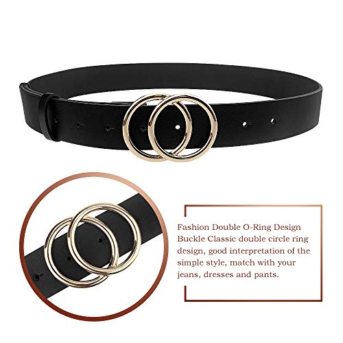 Udekit Women's PU Leather Belt Double O Ring Soft Faux Leather Waist Belt