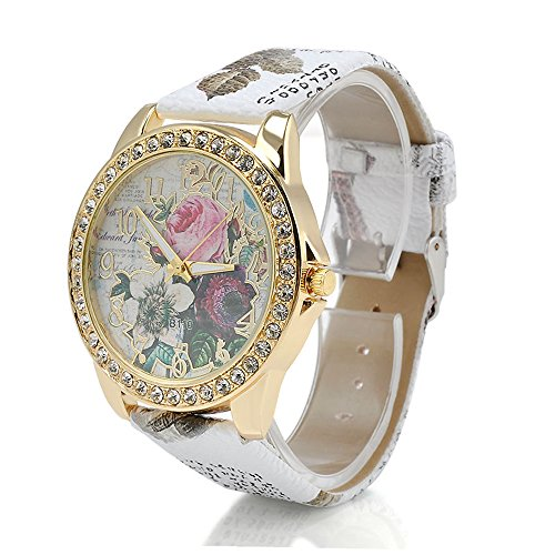 CS-DB Fashion Women's Flower Dial Leather Stainless Steel Analog Quartz Wrist Watch Watches