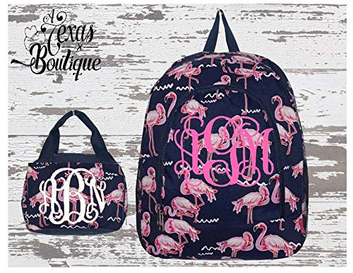 (Pink Flamingo Party Print Large Backpack matching Insulated Bowler Style Lunch Bag)