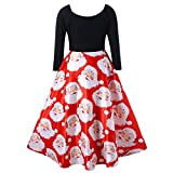 Fit and Flare Dress,Fashion Women V-Neck Ribbons Merry Christmas Santa Claus Print Party Midi Dress,Jewelry,Red,XXXXL