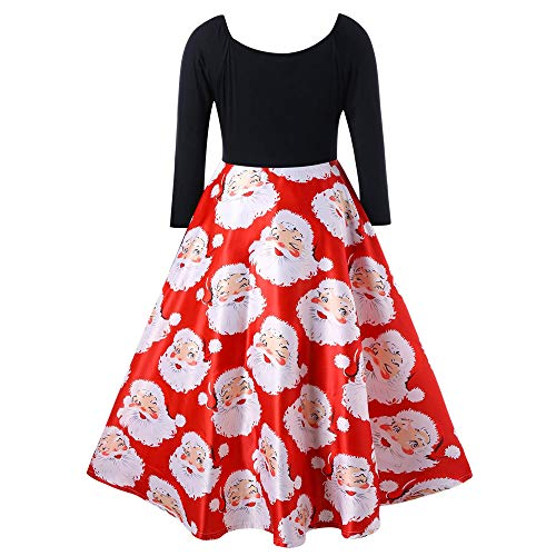 Fashion Women V-Neck Ribbons Skirt Merry Christmas Santa Claus Print Party Midi Dress ()