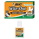 BIC Wite Out Extra Coverage Correction Fluid-.7oz -3 Pack