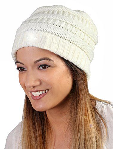 H-6007-25 Day/Night Outdoor Camping Winter Knit Hat Light Up Beanie - Ivory