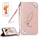 Girlyard For iPhone 7 PLUS Wallet Stand Leather Case Cover Shiny Glitter Diamond Rhinestone Magnetic Closure Flip Case Cover with Wrist Strap and Card Holder Black Rose Gold Angel Girl