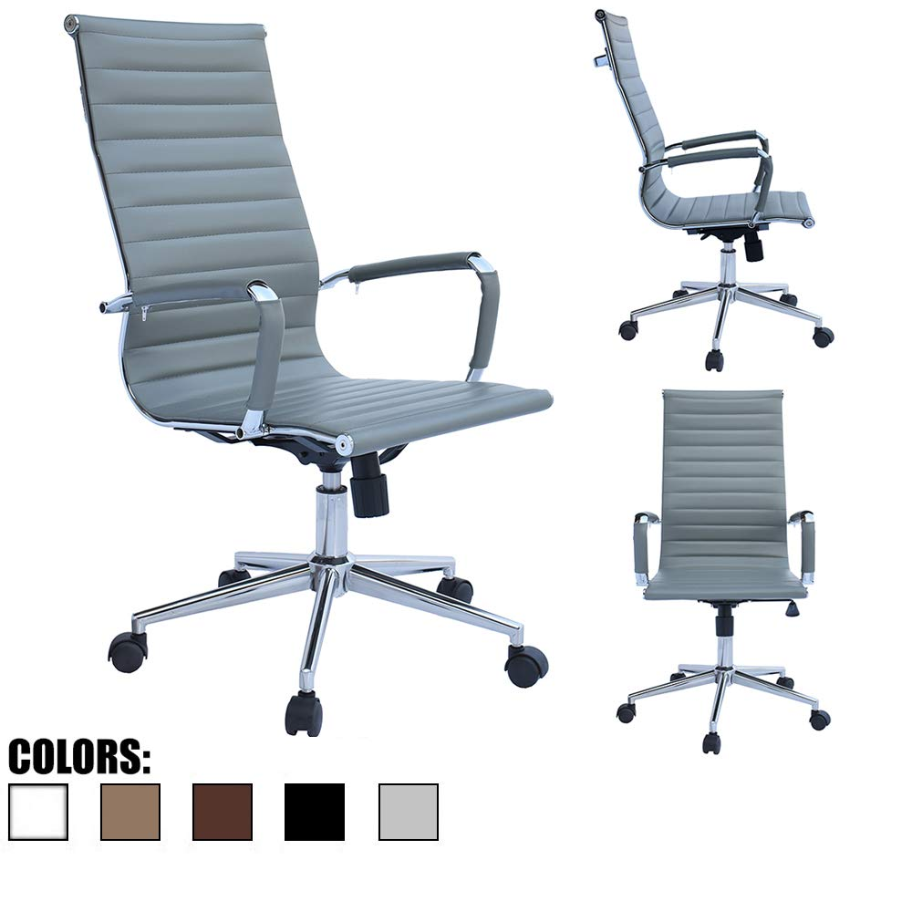 2xhome Gray Office Chair Conference Room Designer Boss PU Leather with Arms Wheels Swivel Tilt Adjustable Manager Mid Century High Back Ribbed Modern Work Task Computer Desk for Tall People Home by 2xhome