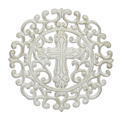 White Cast Iron Wall Decor - Stonebriar Accents of Faith White and Gold Cast Iron Round Cross Trivet,