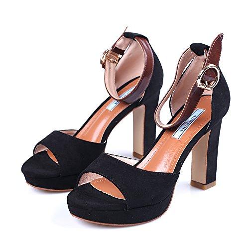 KPHY Verano Grueso Hebilla De Correa Sandalias Impermeable Plataforma Boca De Pez Peces Silvestres Zapatos Gamuza Abrochado Verano De Hembra. black