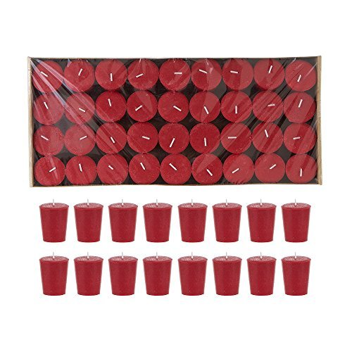 Mega Candles 72 pcs Unscented Red Votive Candle | Pressed Wax Candles 15 Hours 1.5