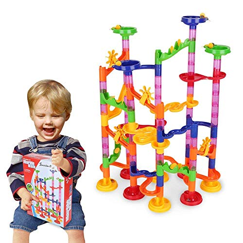 Minihorse Marble Run Set,Marble Run Coaster 105pcs with 75 Building Blocks Plus 30 Race Marbles Marble Race Game Marble Run Play Set For Kids 7-12 Years Old by Mini Horse