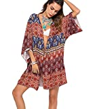 Robesbon Women's Floral Chiffon Kimono Cardigan Summer Beachwear Swimsuit Cover up
