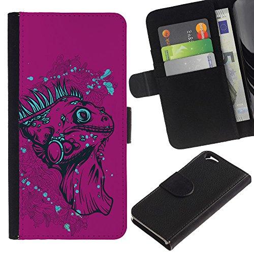 """EuroCase - Apple Iphone 6 4.7 - """"The Purple Iguana - Lizard - Cuir PU Coverture Shell Armure Coque Coq Cas Etui Housse Case Cover"""