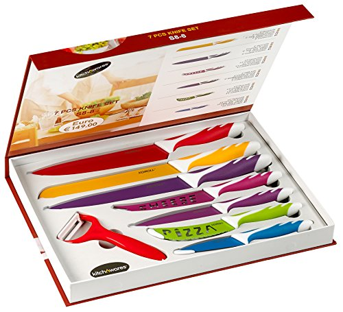 Stainless Steel Gift Knife Set - Elite 8 Piece Color Coated Gift Set - Premium Gift Box - For Chefs, Cooks, Commercial Kitchens, Homes - Use For Meats, Vegetables, Breads, Etc. - By Kitch N' Wares