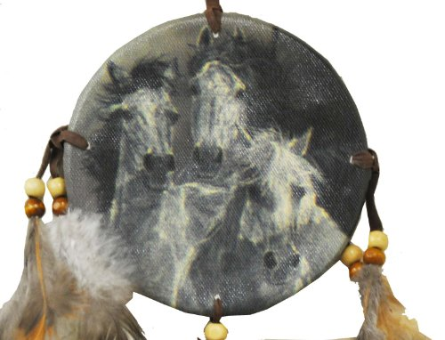 Horse Whisper Canvas Leather Tassel Native American Dreamcatcher, Free Copyrighted Tibetan Mantra Fridge Magnet