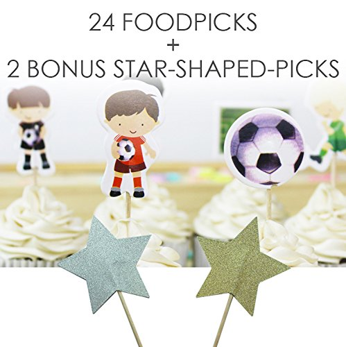 Football Value Pack - Value Pack- 24 Cupcake Toppers Picks- Various Themes (Soccer)
