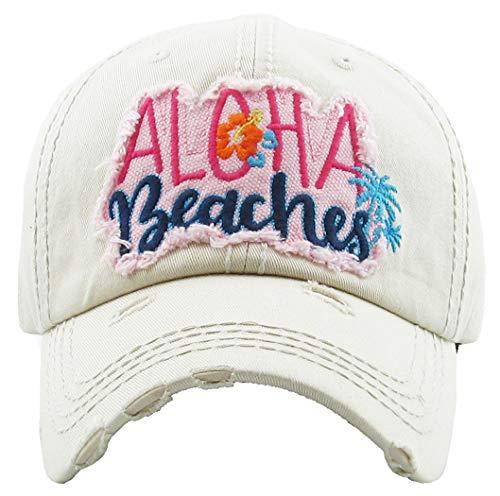 H-212-AB60 Distressed Baseball Cap Vintage Dad Hat - Aloha Beaches (Beige)