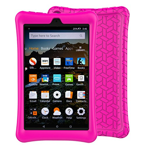 BMOUO Case for All-New Amazon Fire HD 8 Tablet (7th and 8th Generation, 2017 and 2018 Release) - Light Weight Shock Proof Soft Silicone Back Cover for Fire HD 8, Rose