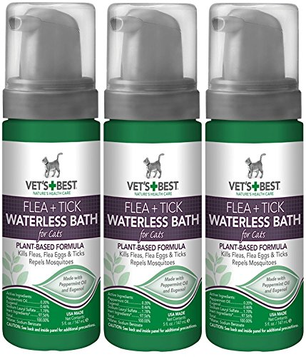 (3 Pack) Vet's Best Natural Flea and Tick Waterless Bath Foam for Cats, 5 (Cat Bath Foam)