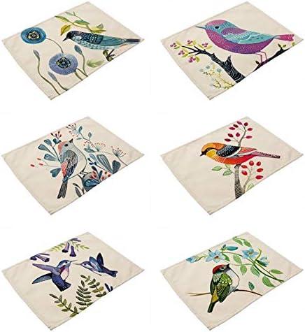 Tissu M/élang/é Coton Et Lin Vintage Rectangulaires Lavable Cr/éation Rouge Bleu Et Vert Oiseaux Et Fleurs Retro Huile sur Toile Imprim/ée Effet Tissu pour Toute La Famille Sets De Table 6 PCS
