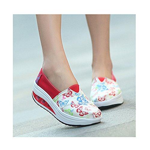 Baskets Mode Femmes Toile Casual Bonne Vie Respirant Léger Chaussures De Sport Athlétiques Par Btrada Red