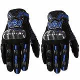 Sdcvopl Protective Gloves Motorcycle Full Finger Carbon Fiber Gloves for Motorbike Cycling Racing Hiking Ventilation (Color : Blue, Size : M)
