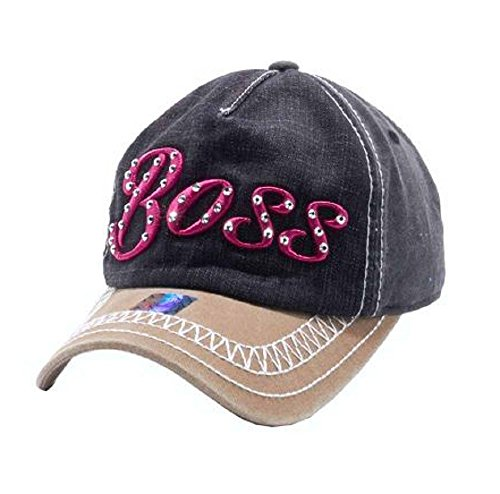 Pitbull JP Adjustable Embroidery Rhinestone Boss Vintage Distressed Womens Hat Cap (Black Tan Brown Pink) (Women For Boss Hat Pink)