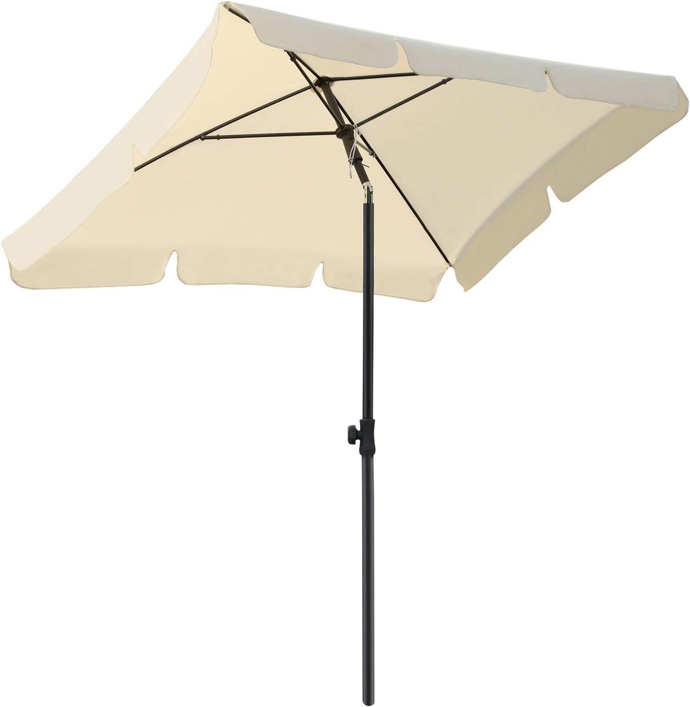 MVPower Parasol, 200 x 125 cm Sombrilla Rectangular Plegable, Sombrilla UV UPF 50+, Sombrilla Impermeable Protección solar para Jardín, Balcón y Terraza