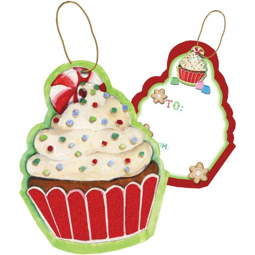 Cupcake Enclosure (Jillson Roberts Bulk Christmas Sparkle Tie-String Gift Tags, Cupcake Christmas, 100-Count)