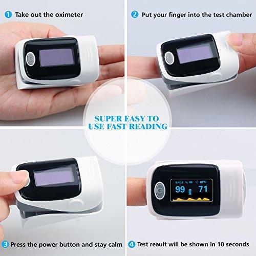 Finger Pulse Oximeter, URBEST Portable Pulse Oximeter Instant Read Digital Display Fingertip Oxygen and Pulse Sensor with Alarm SPO2 for Home, Hospital (Grey) by URBEST (Image #2)