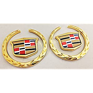 "Gold 3 1/2"" Wreath And Crest Emblem Pair Gold Plated 24K 59"