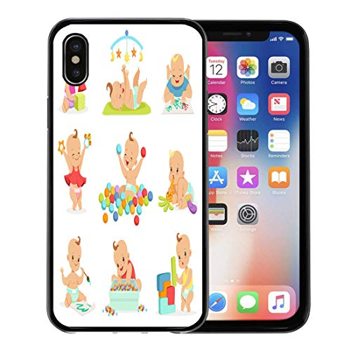 Emvency Phone Case for Apple iPhone Xs Case/iPhone X Case,Adorable Girly Cartoon Babies Playing Their Stuffed Toys Soft Rubber Border Decorative, Black ()