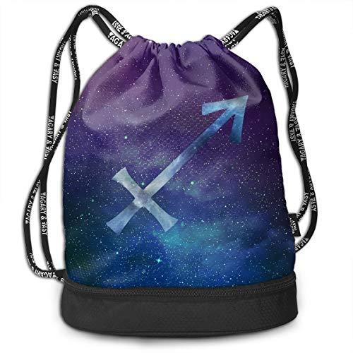 YyTiin Starry Sky Sagittarius Men Women Waterproof Drawstring Backpack Sports Dance Storage Bags Sackpack Gym Traveling Outdoor