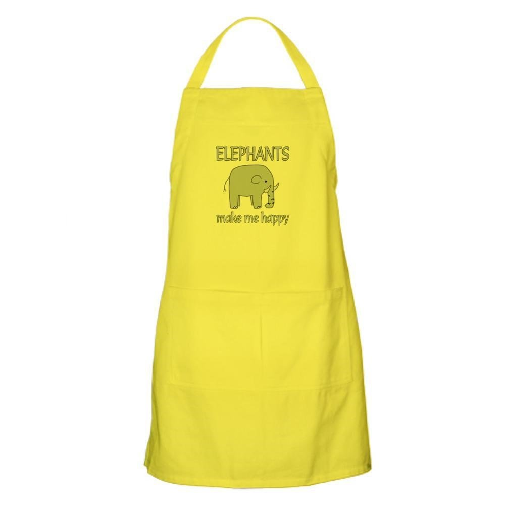 CafePress Kitchen Apron with Pockets Elephant Happy