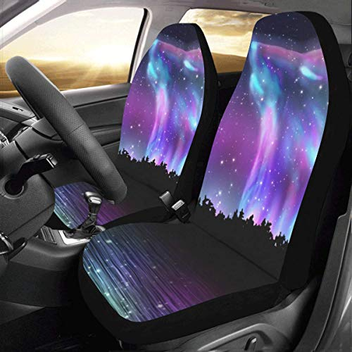 Car Seat Covers(Set of 2) Howling Wolf and Aurora Borealis Polyester Fabric One Side Printing Protector Dust Proof
