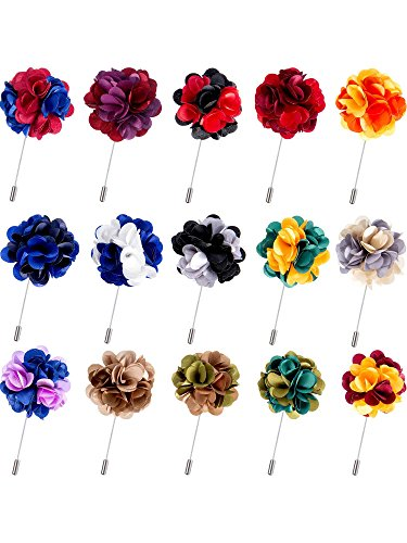 Pangda 15 Pieces Men's Lapel Pin Handmade Satin Flower Boutonniere Pin with Gift Box for Suit Wedding Groom (Multicolor B) ()