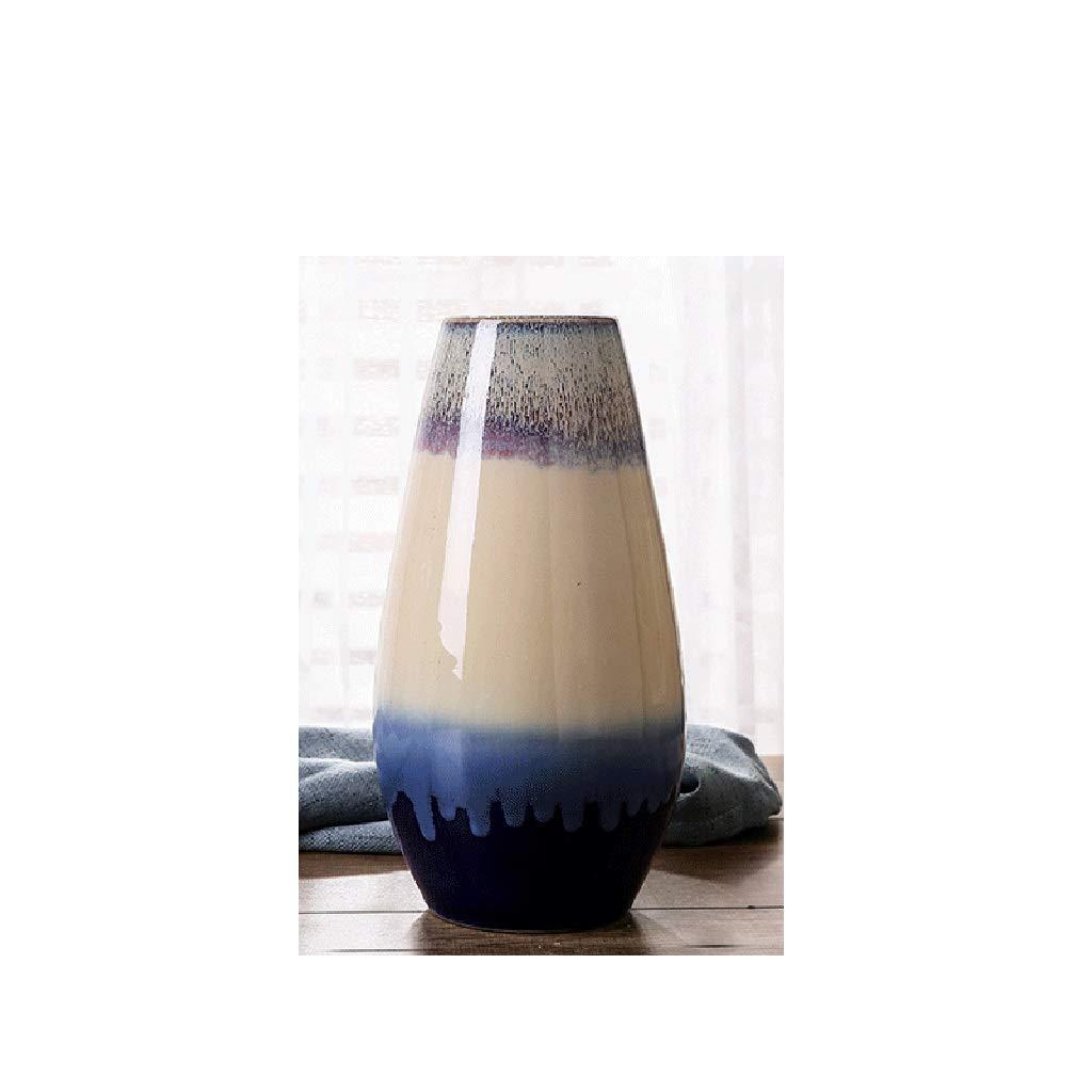 ヨーロッパの陶製の花瓶、居間のカウンタートップ、小さな装飾品、陶磁器の装飾品 QYSZYG (サイズ さいず : C high 28CM) B07QQQ9Z6N  C high 28CM