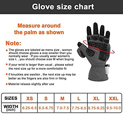 Palmyth Ice Fishing Gloves Convertible Mittens Flip Fingerless Mitt with Thinsulate 3M Warm for Cold Weather and Winter Men Women Photography Running Camera