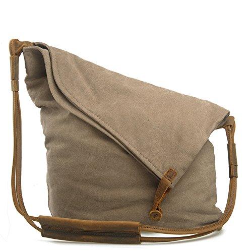 Canvas Crossbody Bag, P.KU.VDSL Casual Large Hobo Bags for Women (Khaki)