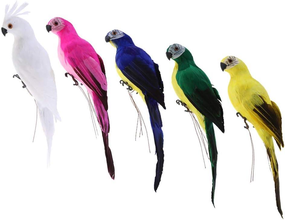 Fenteer 5 Unidades De Imitación Animal Pluma Artificial Guacamayo Loro Pájaro Estatua Yarda Árbol Césped Ornamento Jardín Artesanía Jardinera