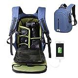 DSLR SLR Travel Camera Bag Waterproof with Durable Nylon Large Capacity Travel Camera Sling Backpack and Laptop Bag(Blue)